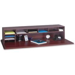 "Safco® 80% Recycled Low-Profile Desktop Organizer, 12""H x 57 1/2""W x 12""D, Mahogany"