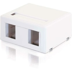 C2G 2-Port Keystone Jack Surface Mount Box - White - 2 x Socket(s) - White