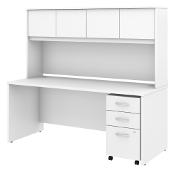 """Bush Business Furniture Studio C Office Desk with Hutch and Mobile File Cabinet, 72""""W x 30""""D, White, Standard Delivery"""