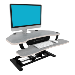 VersaDesk Power Pro Corner Push-Button Electric Height-Adjustable Sit-to-Stand Desk Riser, Gray