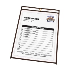 "C-Line® Stitched Vinyl Shop Ticket Holders, 8 1/2"" x 11"", Clear, Box Of 25"
