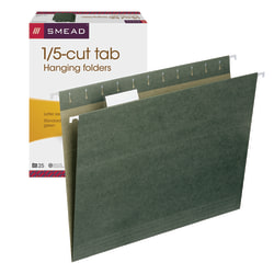 Smead® Premium-Quality Hanging Folders, 1/5-Cut Tabs, Letter Size, Standard Green, Pack Of 25 Folders
