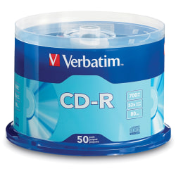Verbatim® CD-R Spindle, 700MB, Pack of 50