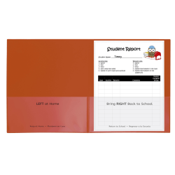 "C-Line Classroom Connector School-To-Home Folders, 8-1/2"" x 11"", Orange, Box Of 25 Folders"