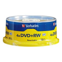 Verbatim® DVD+RW Rewritable Media Spindle, 4.7GB/120 Minutes, Pack Of 30