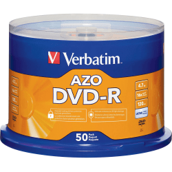 Verbatim® DVD-R Recordable Media, With Spindle, 4.7GB/120 Minutes, Pack Of 50