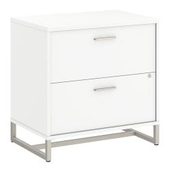 "kathy ireland® Office by Bush Business Furniture Method 30""W Lateral 2-Drawer File Cabinet, White, Standard Delivery"