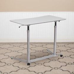 "Flash Furniture 38""W Sit-Down/Stand-Up Ergonomic Computer Desk, Light Gray"