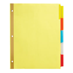 """Office Depot® Brand Insertable Dividers With Tabs, 8 1/2"""" x 11"""", Assorted Colors, 5-Tab"""