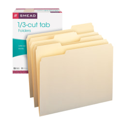 Smead® File Folders, Letter Size, 1/3 Cut, Manila, Pack Of 100