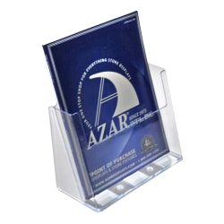 """Azar Displays 1-Pocket Plastic Brochure Holders, Letter Size, 9-13/16""""H x 9-3/16""""W x 4-1/4""""D, Clear, Pack Of 2 Holders"""