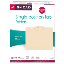 Smead® Selected Tab Position Manila File Folders, Letter Size, 1/3 Cut, Position 2, Pack Of 100