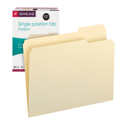 Smead® Selected Tab Position Manila File Folders, Letter Size, 1/3 Cut, Position 3, Pack Of 100
