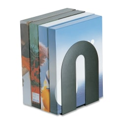 """OIC® Steel Construction Heavy-Duty Bookends, Non-Skid, 10""""H, Black"""