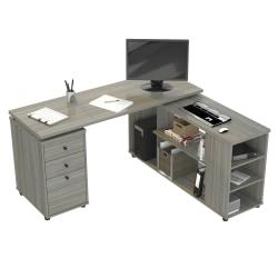 "Inval America 60""W L-Shaped Work Center With Storage, Smoke Oak"