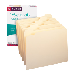 Smead® File Folders, Letter Size, 1/5 Cut, Manila, Pack Of 100