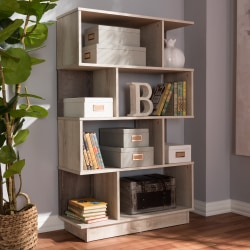 Baxton Studio Lowell Display Bookcase, Oak Brown
