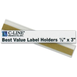 """C-Line 87607 Removable Adhesive Label Holder - 0.5"""" x 3"""" - 50 / Pack"""""""