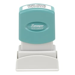 "Custom ECO-GREEN Xstamper® Pre-Inked Stamp, N04, 67% Recycled, 1/2"" x 1-1/16"" Impression"