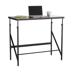 Safco® Elevate Laminate/Steel Standing-Height Desk, Walnut/Black