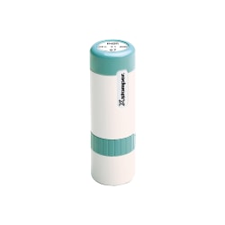 "Custom ECO-GREEN Xstamper® Pre-Inked XpeDater® Stamp, N75, 93% Recycled, 5/8"" Diameter Impression"