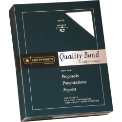 Southworth® 31-620-10 Laser And Inkjet Print Bond Paper, Letter Size, 20 Lb, White, Ream Of 500 Sheets