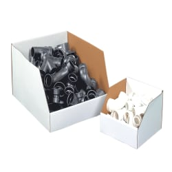 """Office Depot® Brand White Jumbo Open Top Parts Bin Boxes, 8"""" x 12"""" x 12"""", Pack Of 25"""