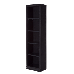 South Shore Morgan 5-Shelf Narrow Bookcase, Black Oak