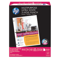 """HP Multi-Use Paper, 3-Hole Punched, Letter Size (8 1/2"""" x 11""""), 20 Lb, Ream Of 500 Sheets"""