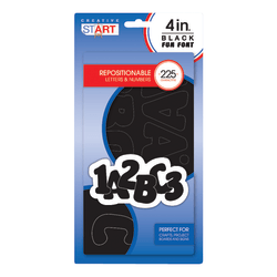 "Creative Start® Vinyl Peel & Stick Letters And Numbers, 4"", Block, Black, Pack Of 225"