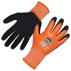 Ergodyne ProFlex 7551 Coated Waterproof Winter Work Gloves, A5 Cut Resistant, Small, Orange