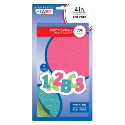 """Creative Start® Vinyl Peel & Stick Letters And Numbers, 4"""", Block, Pink/Blue/Green, Pack Of 225"""
