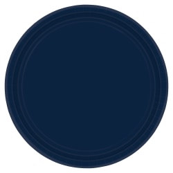 "Amscan Round Paper Plates, 9"", True Navy, Pack of 80 Plates"