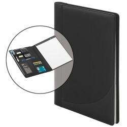 """FORAY® Faux Leather 3-Ring Padfolio With Calculator, 13 1/2""""H x 11 7/16""""W x 2 5/16""""D, Black"""