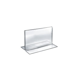 """Azar Displays Double-Foot Acrylic Sign Holders, 5"""" x 7"""", Clear, Pack Of 10"""