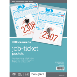 "Office Depot® Brand Job Ticket Holders, 9"" x 12"", Clear, Non-Glare, Pack Of 20"