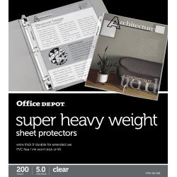 "Office Depot® Brand Super Heavyweight Sheet Protectors, 8-1/2"" x 11"", Clear, Box Of 200"