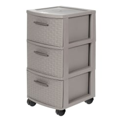 """Inval 3-Drawer 26""""H Rolling Storage Cart, Taupe"""
