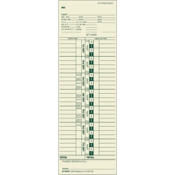 """TOPS™ Weekly Time Clock Cards, 3-1/2"""" x 10-1/2"""", Manila, Box Of 500 Cards"""