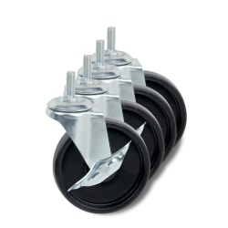 "Honey-Can-Do Urban Large Solid Composite Shelving Wheels, 4"", Black, Set Of 4"