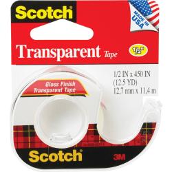"""Scotch® Transparent Office Tape In Dispenser, 1/2"""" x 450"""", Clear"""