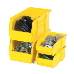 """B O X Packaging Plastic Stackable Bin Boxes, Small Size, 10 7/8"""" x 5 1/2"""" x 5"""", Yellow, Pack Of 12"""