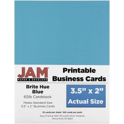 "JAM Paper® Printable Business Cards, 3 1/2"" x 2"", Blue, 10 Cards Per Sheet, Pack Of 10 Sheets"