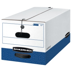 """Bankers Box® Liberty® FastFold® Medium-Duty Storage Boxes With Locking Lift-Off Lids And Built-In Handles, Letter Size, 24"""" x 12"""" x 10"""", 60% Recycled, White/Blue, Case Of 12"""
