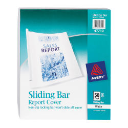 Avery® Sliding Bar Report Covers, White Bars, Box Of 50