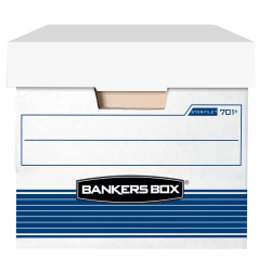 "Bankers Box® Stor/File™ Medium-Duty Storage Boxes With Locking Lift-Off Lids And Built-In Handles, Letter Size, 24"" x 12"" x 10"", 60% Recycled, White/Blue, Case Of 12"