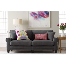 "Serta® Copenhagen Deep-Seating Sofa, 78"", Gray/Espresso"