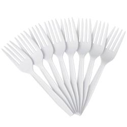 Highmark® Plastic Utensils, Medium-Size Forks, White, Box Of 1,000 Forks