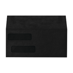 "LUX Double-Window Invoice Envelopes With Moisture Closure, #10, 4 1/8"" x 9 1/8"", Midnight Black, Pack Of 50"