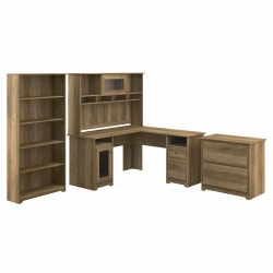 Bush Furniture Cabot L-Shaped Desk With Hutch, Lateral File Cabinet And 5-Shelf Bookcase, Reclaimed Pine, Standard Delivery